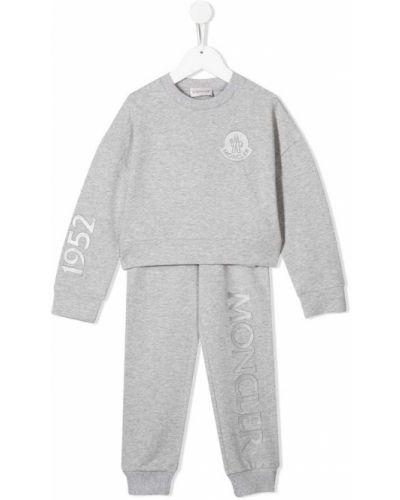 Спортивный костюм серый в рубчик Moncler Kids