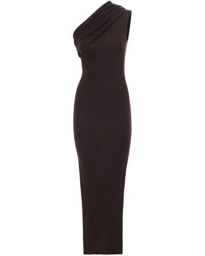 Wełniany brązowy sukienka na jednym ramieniu Rick Owens