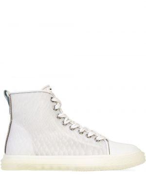 Biały ażurowy skórzany wysoki sneakersy z łatami Giuseppe Zanotti