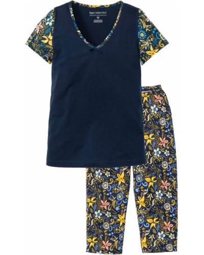 Пижама с брюками с короткими рукавами синий Bonprix