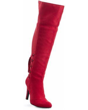 Ботфорты красные на шнуровке Bonprix