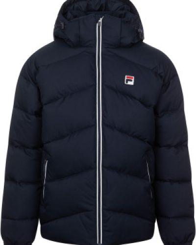 Утепленная синяя короткая куртка на молнии Fila
