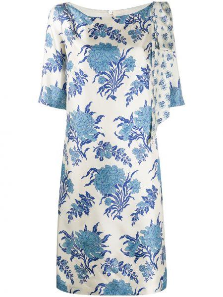 Niebieska sukienka z jedwabiu w kwiaty Antonio Marras