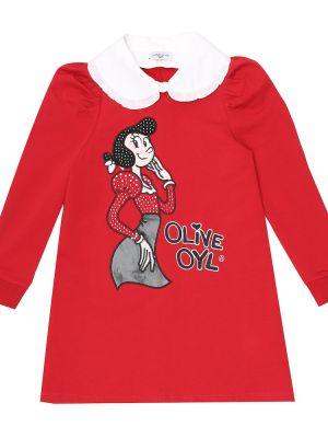 Хлопковое красное платье с вышивкой стрейч Monnalisa