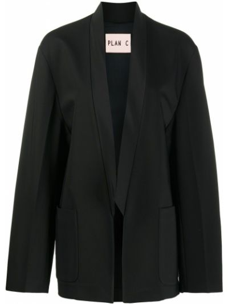 Шерстяной черный удлиненный пиджак с накладными карманами Plan C