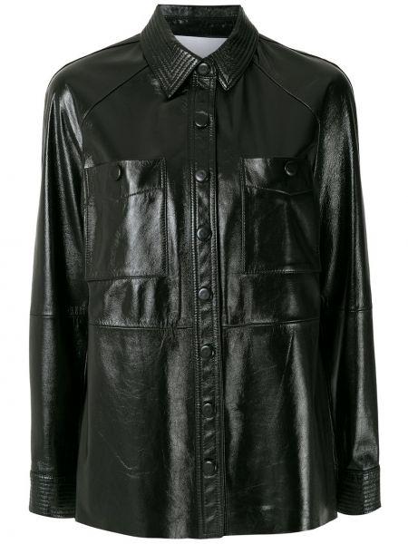 Черная кожаная куртка с воротником Nk