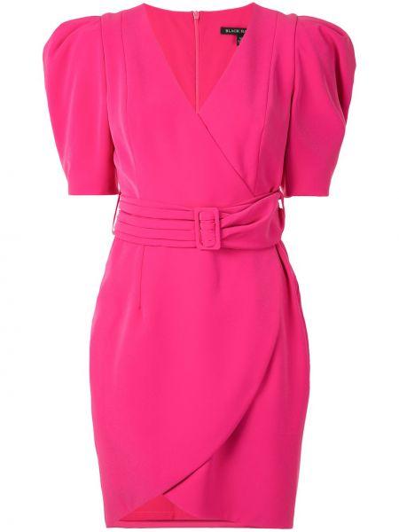 Розовое платье мини с запахом на молнии с короткими рукавами Black Halo