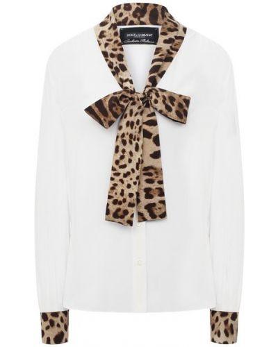 Шелковая белая блузка Dolce & Gabbana