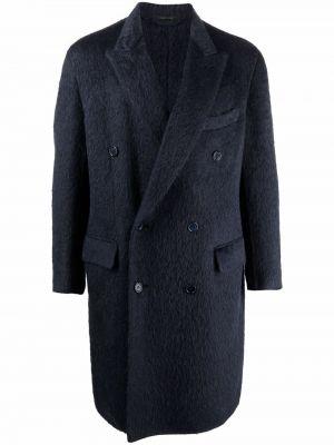 Синее длинное пальто Brioni