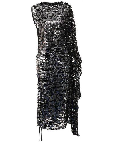 Платье миди с оборками черное Mm6