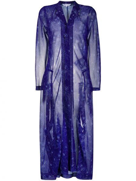 Синее длинное пальто с капюшоном с воротником Comme Des Garçons Comme Des Garçons