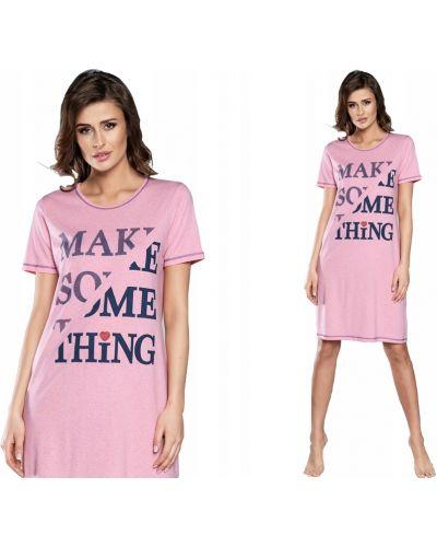 Różowa koszula nocna bawełniana krótki rękaw Italian Fashion