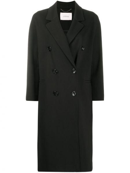 Черное длинное пальто двубортное на пуговицах Dorothee Schumacher