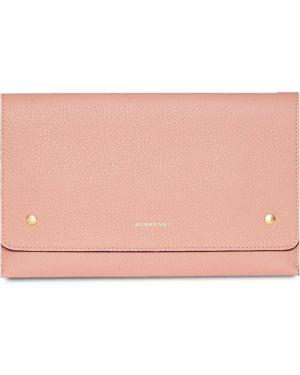 Różowa kopertówka skórzana Burberry