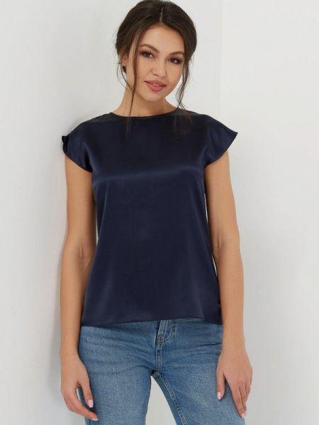 Синяя шелковая блузка с коротким рукавом с короткими рукавами Silk Me