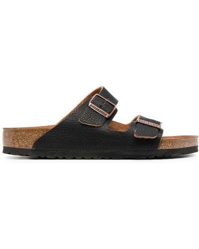 Skórzany czarny sandały z klamrą prążkowany Birkenstock