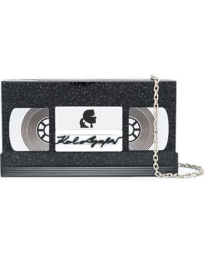 Czarna sprzęgło na łańcuchu z akrylu Karl Lagerfeld
