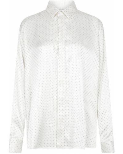 Klasyczna biała koszula z jedwabiu Saint Laurent
