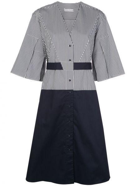 Синее прямое платье мини с V-образным вырезом на пуговицах Palmer / Harding