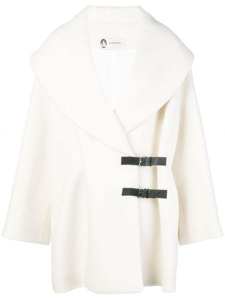 Прямое белое кожаное пальто Lanvin