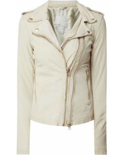 Biała kurtka skórzana asymetryczna Goosecraft