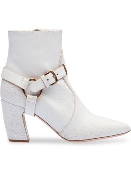 Buty na obcasie na pięcie z ostrym nosem Miu Miu