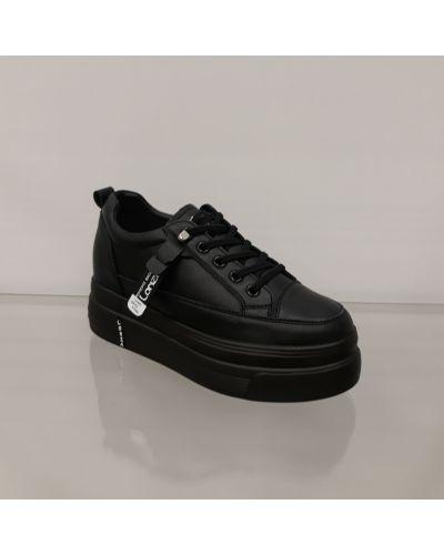 Черные кожаные кроссовки на платформе Lonza