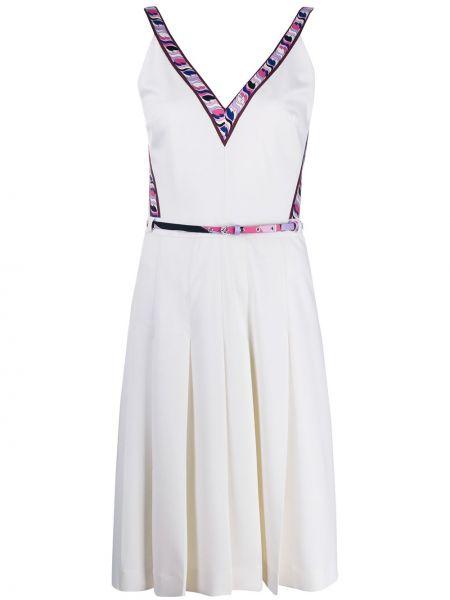 Платье с поясом с V-образным вырезом с рукавами Emilio Pucci