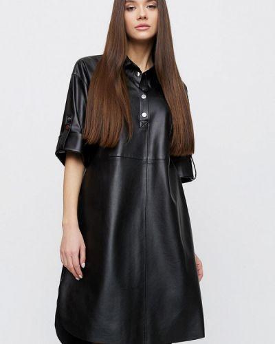 Кожаное черное платье Cardo