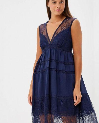 Коктейльное платье осеннее синее Lusio