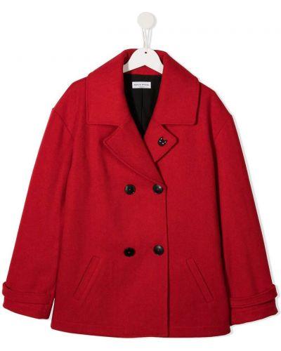 Красное шерстяное длинное пальто двубортное Sonia Rykiel