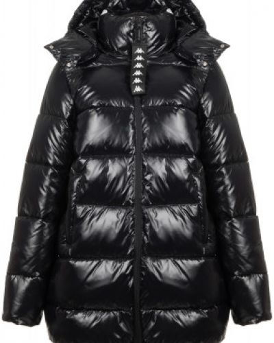 Теплая нейлоновая черная куртка с капюшоном на молнии Kappa