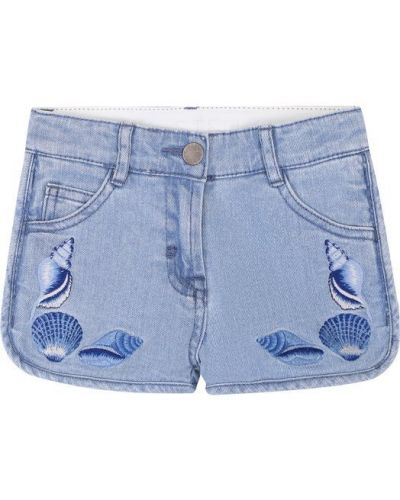 Джинсовые шорты с вышивкой короткие Stella Mccartney