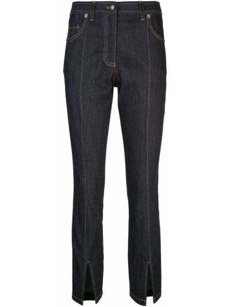 Хлопковые темно-синие укороченные джинсы с поясом на молнии Cinq À Sept