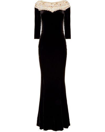 Шелковое с рукавами черное платье макси Marchesa
