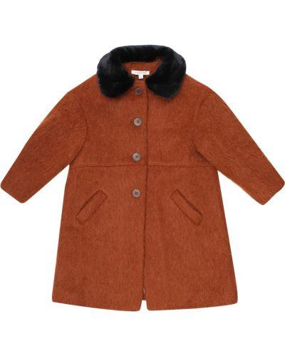 Оранжевое пальто из мохера с воротником Caramel