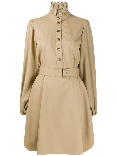 Платье макси с вышивкой на пуговицах Chloé