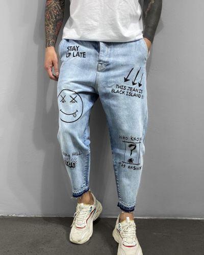 Хлопковые джинсы - голубые Chernyy Kot