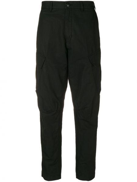 Czarne spodnie z wysokim stanem bawełniane Stone Island Shadow Project
