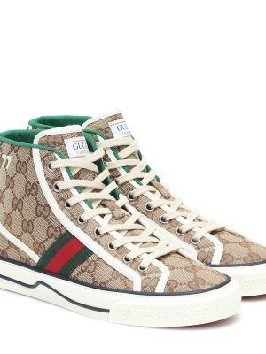 Текстильные бежевые теннисные высокие кроссовки Gucci