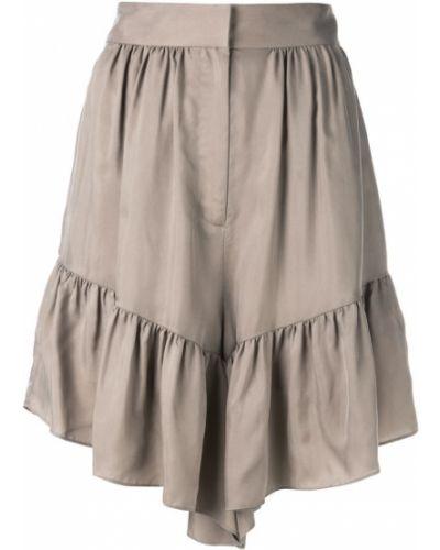 Однобортные коричневые шорты с оборками Tibi