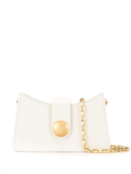Z paskiem torebka na łańcuszku złoto z łatami z prawdziwej skóry Elleme