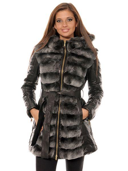 Кожаное пальто - черное Mor`a