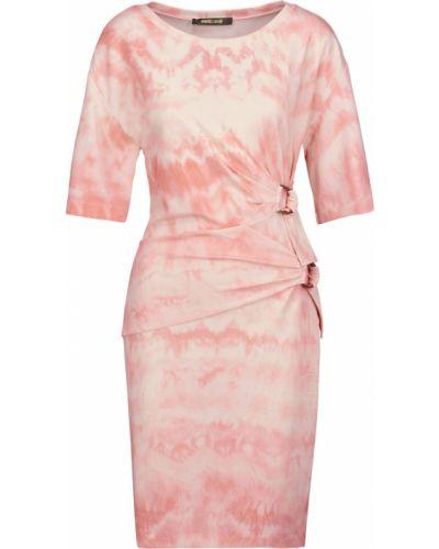 Трикотажное розовое платье мини стрейч Roberto Cavalli