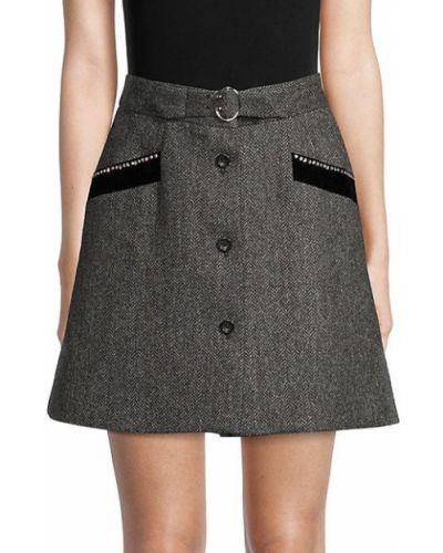 Темно-серая шерстяная юбка с карманами Miu Miu