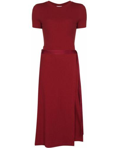 Красное платье миди с запахом с вырезом с короткими рукавами Rosetta Getty
