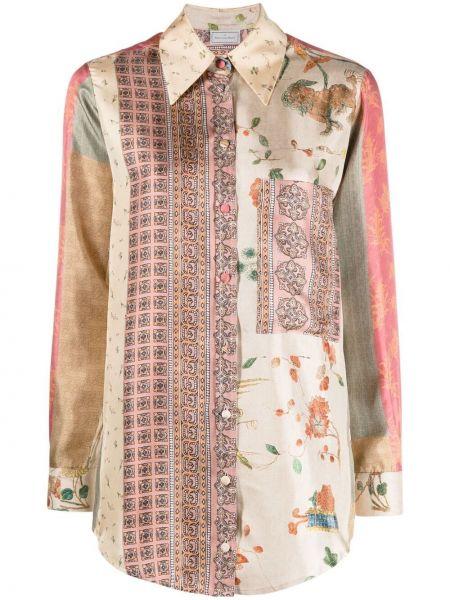 Шелковая рубашка с карманами на пуговицах Pierre-louis Mascia
