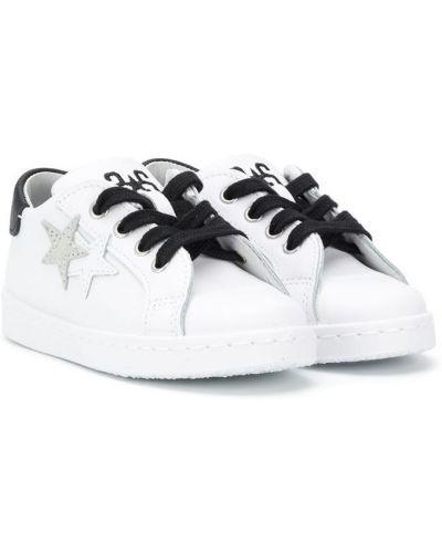 Ажурные кожаные белые кроссовки на шнурках 2 Star Kids