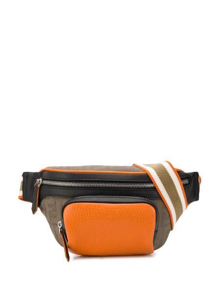 Оранжевая кожаная поясная сумка на молнии Fendi