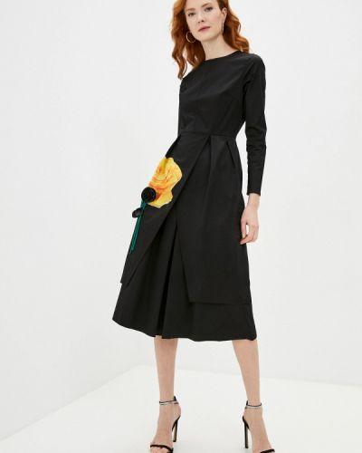Прямое черное платье А-силуэта Cavo